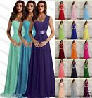 Stock Chiffon Straps Long Formal Ball Evening Party Bridesmaid Dress Size 6-22