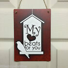 Valentines Day Love Bird Hous Sign Gift Chic Wall Plaque, My heart beats for you
