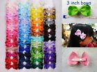 """Wholesale 12pc~100pc 3"""" Kids Girl infant Solid ribbon Hair Bows(196 color) 1397"""