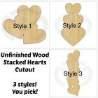 Внешний вид - Unfinished Wood Stacked Hearts Laser Cutout, Door Hanger, Valentine's Decor
