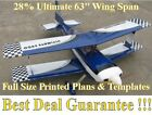 "Ultimate Biplane 28% 63"" WS Giant Scale RC Airplane PRINTED Plans"