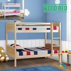 Children Pine Wood 3FT Single Bunk Bed Frame in PINE or WHITE with Mattress
