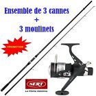 3 cannes a carpe 3.60m 3lbs + moulinet debayable  + fil    transport gratuit