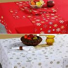 Cotton Christmas Tablecloth XMAS Red & Gold Snowflakes Tableware Cover