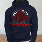 Gym Workout Motivation Fitness Beast Built with Determination Mens Navy Hoodie