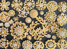 32 Lot Mixed Gold Rhinestone Crystal Button Brooch Pin Wedding Bouquet DIY Kit