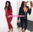 Womens Sports Hooded Longsleeve Bodycon Jumpsuit Romper long Trousers playsuit