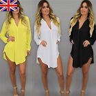 Summer Womens Casual Long Sleeve Oversize Loose Chiffon T Shirt Top Blouse Dress