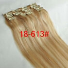 "New 15""18""20""22""7PCS Clip In Remy Human Hair Extensions Straight #18/613 Mixed"