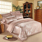 Free ship Queen/King Red Gloden Satin Floral 4pc duvet cover set/bedding set