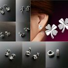 925 Sterling Silver Plated Fashion Crystal Heart Ear Stud Earrings Jewelry Gift