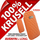 New Krusell Avenyn L Long PU Leather Look Mobile Pouch Case Cover Slim Orange günstig