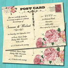 Evening Wedding Invitations with Envelopes - Postcard Pink Roses