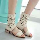 US 4-11 Retro Hollow Out Cuban Heels Open Toe Summer Sandals Womens Boots Shoes