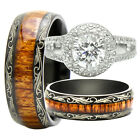 His And Hers Titanium 925 Sterling Silver 3PCS Wedding Bridal Matching Ring Set