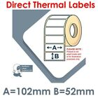 102mm x 152mm WHITE Direct Thermal Labels 250 per roll for Citizen type printer