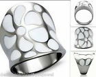 White Flower Stainless Steel Ring Silver Floral Contemporary Size 5-10
