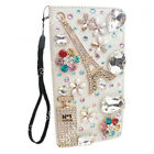 Luxury Bling Diamond Jewelled Crystal Leather Flip Wallet Strap Cards Case Cover