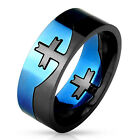 Men's Stainless Steel Ring Band with Cross Center Blue and Black 2-Tone Puzzle