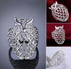 New jewelry 925 Sterling silver Filled fashion beautiful owl ring size 7-8