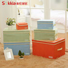Collapsible Room Tidy Toy Cotton Linen Storage Box Chest Trunk With Lid / Handle