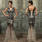 New Womens Lace Long Dress Wedding Evening Party Cocktail Formal Ball Gown Dress