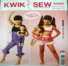 Kwik Sew Sewing Pattern 4054 Girls Doll Crop Shorts Leggings Dance Costume