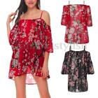UK Womens Sexy Off Shoulder Retro Floral Beach Party Evening Cocktail Mini Dress