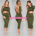 women club outfits -   Women Sexy Club Long Sleeve Backless Set Outfits Bandgae Bodycon Party Dress