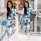 Ladies Fashion Elegant Full Sleeve Sport Suit 2PC Print Ankle Rompers Women