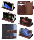 Denim Canvas PU Leather Kickstand Phone Pouch Cover Case For iphone Samsung HTC