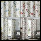 Alexis Lined Eyelet Curtains Floral Poppy Flowers Birds Ready Made Pair Ring Top