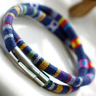 Double Wrap 6mm Tribal Ethnic Bracelet Wristband Stainless Steel Clasp