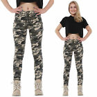 New Dark Green Camouflage Slim Stretch Skinny Jeans Cropped Short Leg Trousers