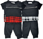 Baby boys Fashion Outfit Bib n Brace Tartan Suit T-shirt zip and Jogging Bottom