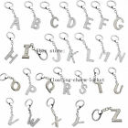 26 Letter Silver Rhinestone Alphabet Dangle pendent charms with keyring