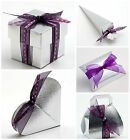 Pack 10 Luxury DIY Wedding Christmas Anniversary Favour Boxes Shiny SILVER SILK