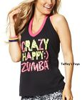 Zumba  - Crazy Happy Halter Top Tee - Black ~ Small, Medium, Large, XXL ~ New!