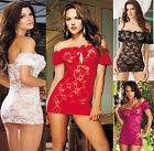 lady women one shoulder lingerie sleepwear cocktail lace bodycon fromal dress