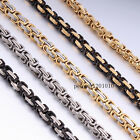 5 COLORS 5mm MENS Chain Boys Box Byzantine Link Stainless Steel Necklace 18-36''