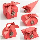 Pack 10  Luxury DIY Wedding Party Favour Gift Boxes CORAL SILK