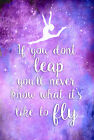 Gymnastic If you don't LEAP quote girls bedroom wall art poster