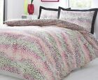 Leopard Bright Animal Print Black Pink Yellow Duvet Cover Quilt Bedding Set