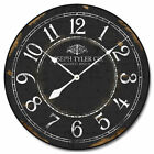 Black & White LARGE WALL CLOCK 10- 48 Whisper Quiet Non-Ticking WOOD HANDMADE