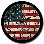 """Large wall Clock, In God We Must Trust Clock 10""""- 48"""" Whisper Quiet, Non-Ticking"""