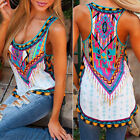 Women Sleeveless Summer Printed Vest Tee Shirt Boho Blouse Casual Tank Tops