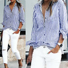 Women's Blouse Striped Long Sleeve Loose Blouse Casual Ladies T Shirt Lapel Tops