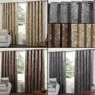 Parker Faux Velvet Ready Made Curtains Lined Eyelets Ring Top Metallic Two Tone