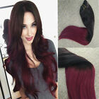 DOUBLE DRAWN 120 GRAM CLIP IN Human Hair Extensions 22 Inch #1B#BUG Black Burg