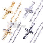 6P4 mens Jesus Cross pendant 10mm wide Puffed Anchor Mariner chain necklace